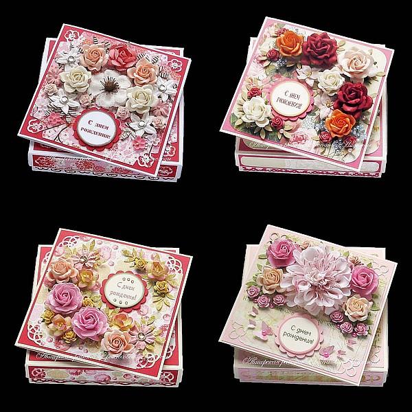 Розово-красные открытки 4 шт