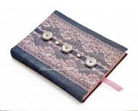 Джинсовый блокнот с розовым кружевом (№8025, Готовая работа, 450р.)