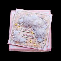 Розовая свадебная открытка (в коробочке) (№10377, Готовая работа, 1200р.)