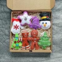 Набор елочных игрушек из фетра (№13237, Готовая работа, 2850р.)