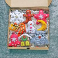 Набор елочных игрушек из фетра (№13972, Готовая работа, 2150р.)