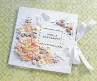 Белая свадебная книга пожеланий с персиковыми цветами (№3471, Готовая работа, 3000р.)