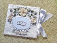 Свадебная кружевная перламутровая открытка-конверт для денег (№6482, Готовая работа, 800р.)
