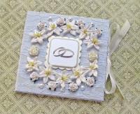 Свадебная кружевная нежно-голубая перламутровая открытка-конверт для денег (№6498, Готовая работа, 800р.)