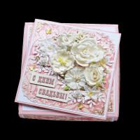 Розовая свадебная открытка (в коробочке) (№10376, Готовая работа, 1200р.)