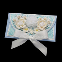 Свадебный голубой конверт для денег (№10570, Готовая работа, 700р.)