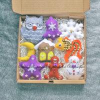 Набор елочных игрушек из фетра (№13969, Готовая работа, 2855р.)