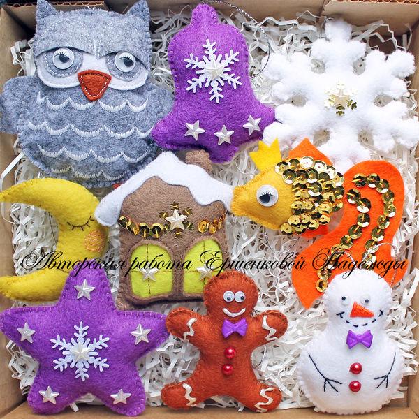 елочные новогодние игрушки из фетра ручной работы